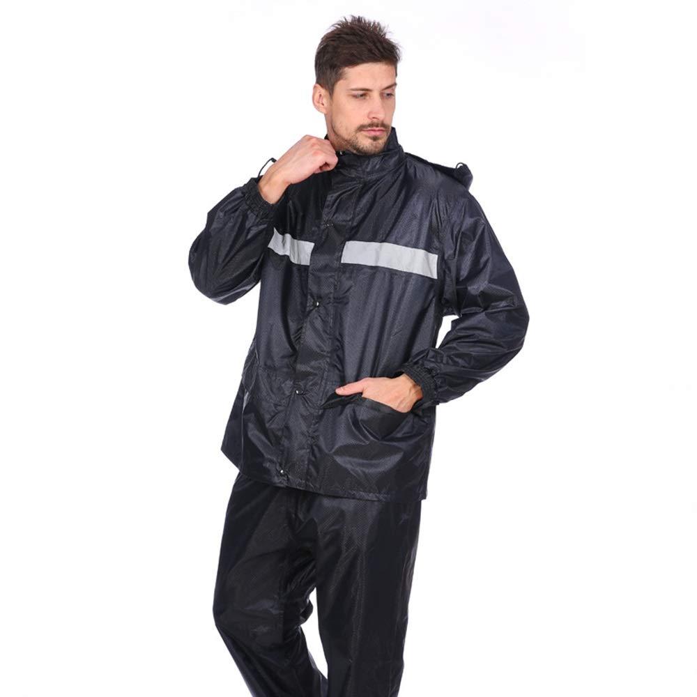 Rain Gear Outdoor Functional Portable Rainproof Thicken Motorcycle Raincoat Raincoat Rain Pants Adult Reflective Riding Double Layer Split Suit (Size : L) by Zhaolan-Rain Gear