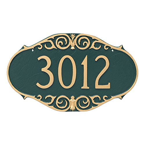 "Montague Metal Victorian Address Sign Plaque, 9.5"" x 16"", Black/Gold"