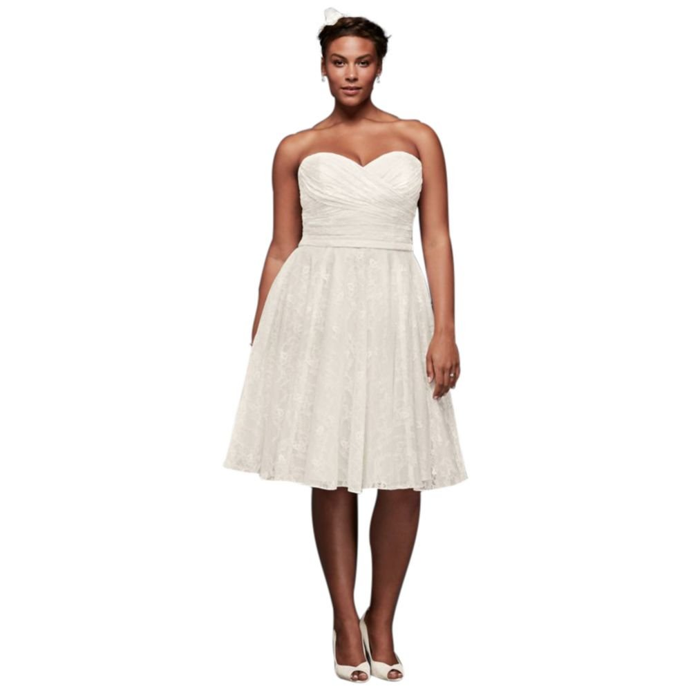 Strapless Lace Plus Size Short Wedding Dress Style 9wg3826 At Amazon Women's Clothing Store: Short Full Skirt Wedding Dress At Reisefeber.org