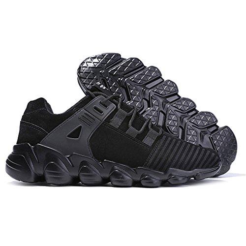 KuBua Herren Laufschuhe Indoor und Outdoor Sport Athletic Fitness Fashion Sneaker Casual Weiß Schwarz C Schwarz