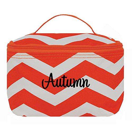 Personalized Orange and White Chevron Mini Cosmetic Bag ()