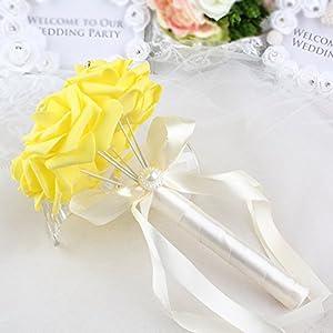 AerWo 6 Bunch of Bouquet, Yellow Foam Roses Silk Ribbon Bouquet Handmade Rhinestone Diamante Artificial Flower Bridal Bridesmaid Brooch Wedding Bouquet Decoration 4