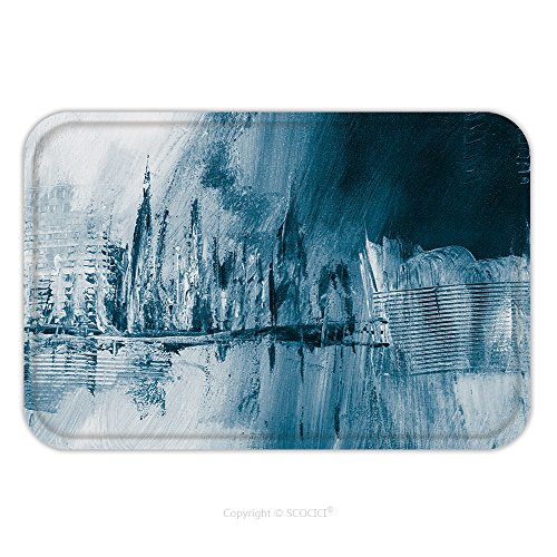Flannel Microfiber Non-slip Rubber Backing Soft Absorbent Doormat Mat Rug Carpet Blue Abstract Hand Painted Background Wallpaper Texture Close Up Fragment Of Acrylic Painting On 425884258 for Indoor/O