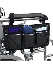 Gobesty Veilige opbergtas voor rolstoelen, mobiliteitshulp rolstoel accessoires tas voor ouderen senioren gehandicapten handsfree draagtas rolstoel tas, zwart