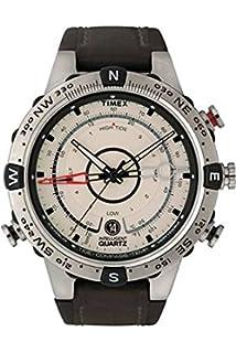 adb480b0cb3 Timex Men s T2N721 Intelligent Quartz Compass Tide Temperature Silver Case  Brown Strap Watch