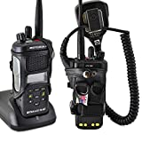 Turtleback Carry Holder for Motorola APX 4000 Two Knob Radio Extended Battery with D Rings Attachment Fire and Police Two Way Radio Belt Case Black Leather Belt Holster Heavy Duty D Rings Made in USA