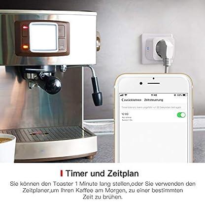 TECKIN Smart Wlan Steckdose 16A Wifi Intelligente Mini Steckdose, funktioniert mit Android und iOS Siri und Google Home, Alexa, Google Nest Hub, auf NUR 2.4 GHz Netzwerk (4 PACK) 5