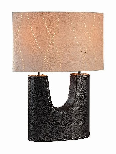 Lite Source LS-20208LTR Tannar Table Lamp, Genuine Leather with Oval Suede Shade