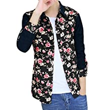 uxcell Men Floral Print Long Sleeves Color Block Corduroy Shirts