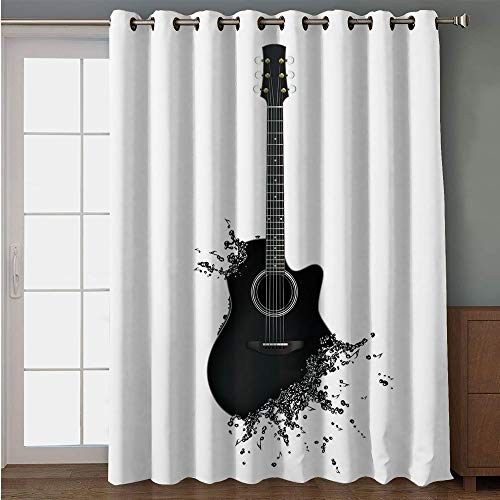 Blackout Patio Door Curtain,Guitar,Monochrome Musical Instrument with Strings Acoustic Color Splashes Creative Outlet,Black White,for Sliding & Patio Doors, 102