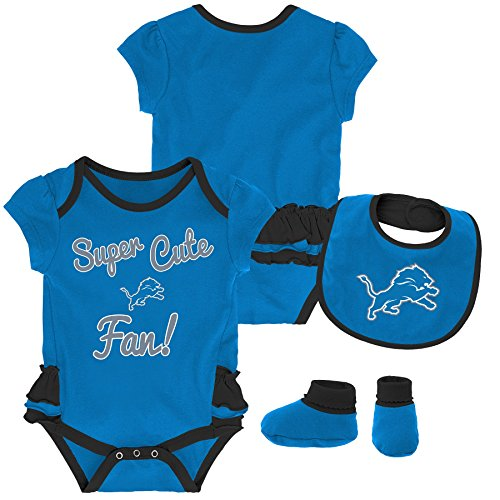 Outerstuff NFL NFL Detroit Lions Newborn & Infant Mini Trifecta Bodysuit, Bib, and Bootie Set Lion Blue, 12 Months