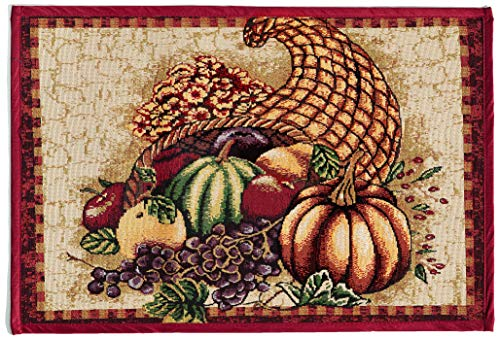 - HomeCrate Fall Harvest Collection, Tapestry Cornucopia with Pumpkins and Fruits Design Area Rug, 19