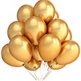 LAttLiv Party Balloons 12 Inch 100 Packs Color Gold Latex Balloonsfor Kids Party Supplies Wedding Decoration Baby Shower or Birthday Decoration - Gold