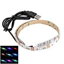 USASUNFACE 1M USB LED Strip Light 5V 60leds SMD 5050 Under Counter Light with USB mini Controller for TV PC Computer Case Back Lighting(Waterproof)
