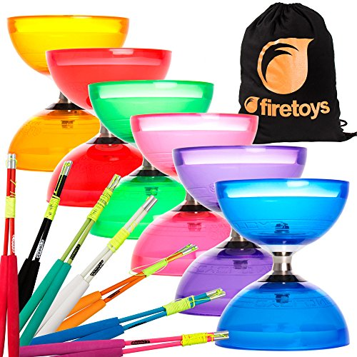 Juggle Dream Cyclone Quartz 2 Triple Bearing Diabolo & Superglass Diablo Sticks Set with Firetoys Bag (Blue Diabolo/Green Sticks)