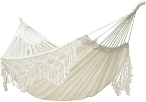 Hammock,Boho Hammock Large Double Deluxe Hammock Swing Bed with Carry Bag for Outdoor & Wedding Party Decor, White (94.5)