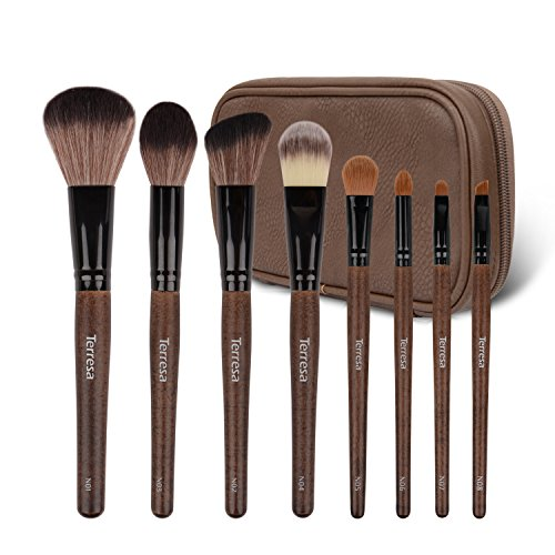 Terresa 8pcs Makeup Brushes with Case Professional Wooden Handle Synthetic Make Up Brush Set - Foundation Blush Contour Brush for Essential Flawless Face Cosmetic for $<!--$13.99-->