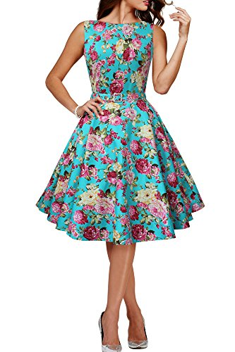 Black Butterfly 'Audrey' Vintage Divinity 50's Dress (Turquoise - Pink Floral, US (Turquoise Floral Skirt)