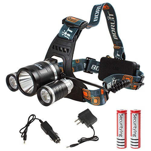 Boruit Jr-3001 5000lm 1x Cree Xm-l T6 Led & 2x Cree Xp-g R5 Leds Super Bright Headlamp with 3000mah Battery and Car Charger