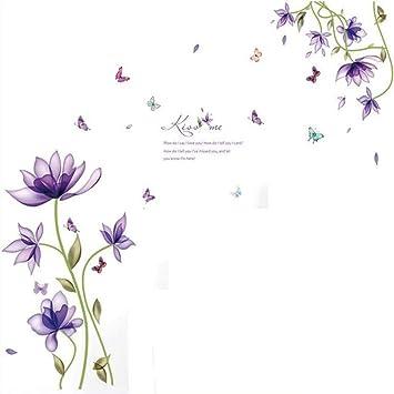 WHFDRHQT Pegatina Pared Pegatinas de pared Lirio Púrpura Flor ...