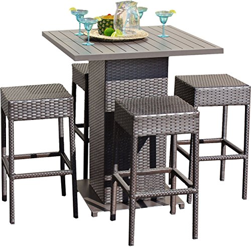 Woven Backless Benches - TK Classics 5 Piece Table Set with Backless Barstools Outdoor Wicker Patio Furniture