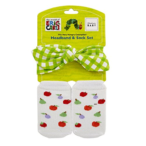 Stephan Baby Eric Carle The Very Hungry Caterpillar Headband and Bootie Sock Gift Set, 3-12 Months]()