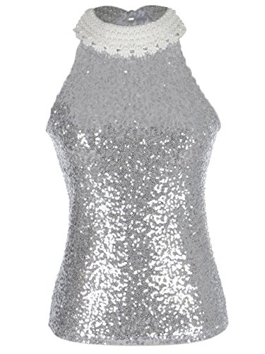 Anna-Kaci Womens Silver Sequin Embellished Pearl and Lace Collar Top, Silver, X-Small -