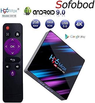Sofobod H96MAX TV Box Android 9.0 2GB RAM 16GB ROM, H.265 Decoding, HDIM 2.0, HD 4K 3D, USB3.0, Dual WiFi 2.4G/5G BT4.0 TV Box: Amazon.es: Electrónica