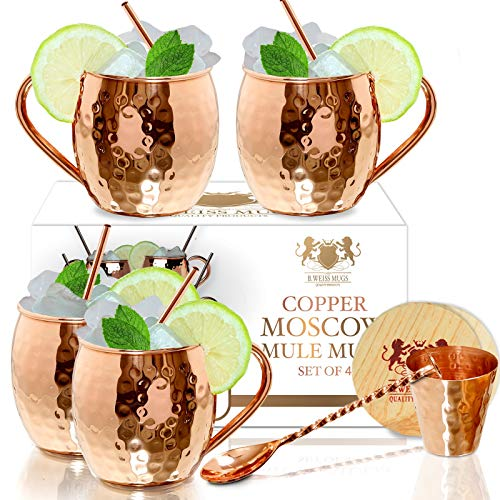 - Moscow Mule Copper mugs Set Of 4 By B.WEISS Handmade Hammered Copper Cups 100% Pure Copper +Bonus: 4 copper straws 4 coasters 1 shot mug 1 spoon