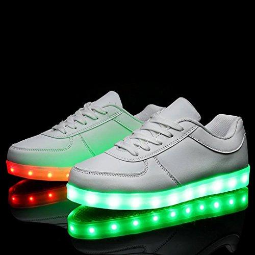 Caro-regina Unisex Usb Ricarica Scarpe Led Lampeggianti Sneakers Bianche