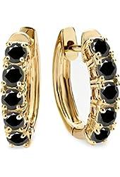 1.00 Carat (ctw) 14K Yellow Gold Ladies Huggies Hoop Earrings 1 CT
