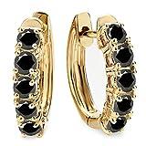 1.00 Carat (ctw) 14K Yellow Gold Round Black Diamond Ladies Huggies Hoop Earrings 1 CT