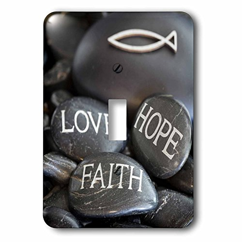 3dRose Andrea Haase Still Life Photography - Black Pebble Engraved, Love Faith Hope - Light Switch Covers - single toggle switch (lsp_268541_1) by 3dRose