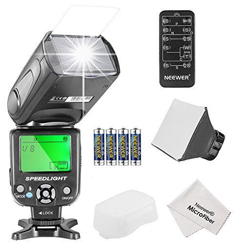 Neewer NW561 Speedlite Flash Kit for Canon Nikon Olympus Fujifilm DSLR Cameras Include:NW-561 Flash +Flash Diffuser +5-in-1 Multi Function Remote Control +4 Batteries +Micro Cleaning Cloth