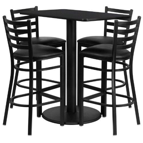 Rectangle Laminate - Flash Furniture 24'' x 42'' Rectangular Black Laminate Table Set with 4 Ladder Back Metal Barstools - Black Vinyl Seat