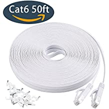 Cat6 Flat Ethernet Cable, 50 FT Computer LAN Internet Network Cable, Patch Cord with Clips w/ Snagless Rj45 Connectors for PS4, Xbox one, Switch, IP Cameras, Modem, Printers, Router White (15 Meters)