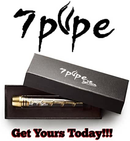 Newest Twisty Glass Blunt by 7 PIPE Gold Color (Come With Box Including Cleaning Brush and Rubber End)