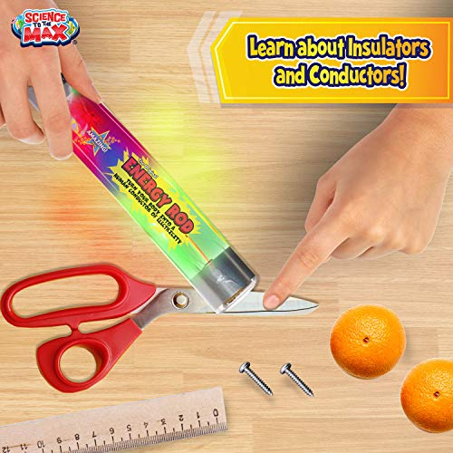 Energy Rod by Be Amazing! Toys - Sensor Stick Sci-Fi Tube with Flashing LED Light - Safe to Touch and Handle STEAM Electric Current Toy for Boys & Girls – Ages 4+