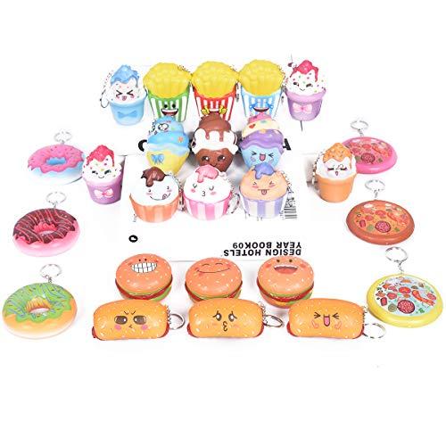 - Random 20 Pcs Squishies Cream Scented Slow Rising Kawaii Simulation Lovely Toy Jumbo Medium Mini Soft Food squishies, Phone Straps