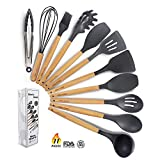 Kitchen Utensil Set - 11 Piece Cooking Utensils - Non-stick Silicone and Wooden Utensils. BPA Free, Non Toxic Turner Tongs Spatula Spoon Set. Best Chef Kitchen Tool Set Gray - Chef's Hand