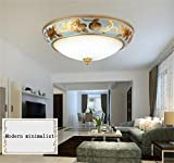 DIDIDD Ceiling light- continental guest bedroom den creative ceramic circular dimming led ceiling --home warm ceiling lamp,White Light-50cm