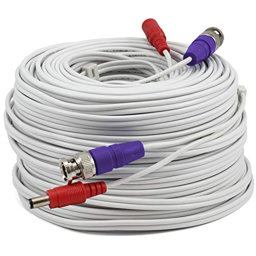 Swann BNC Coaxial Cable for Security Camera CCTV System, Audio Video Extension Power Cables, UL Certified and Fire Resistant, 100ft (100 Ft / 30 M)