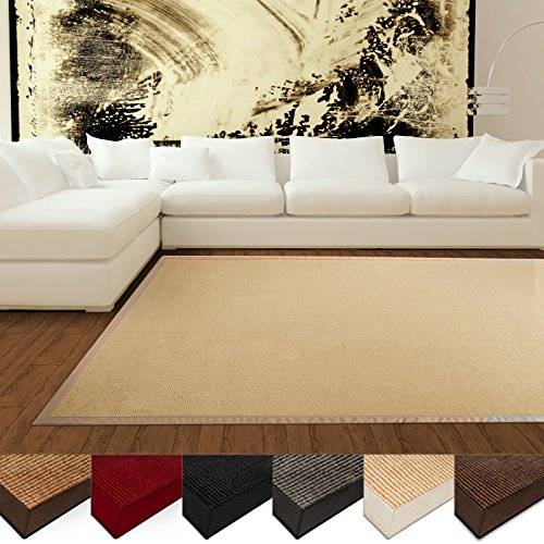casa-pura-Natural-Fiber-Rug-Sisal-Non-Slip-Backing-Wide-Border-Natural-3-Sizes-2-Colors