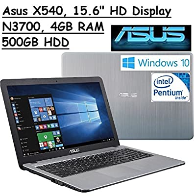 "2017 Newest ASUS 15.6"" High Performance Premium HD Laptop (Intel Quad Core Pentium N3700 Processor up to 2.4 GHz, 4GB RAM, 500GB HDD, SuperMulti DVD, Wifi, HDMI, VGA, Webcam, Windows 10-silver)"