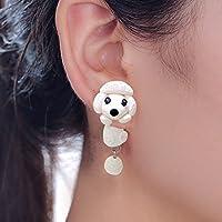 Ransopakul Ear Drop Asymmetric Cute Cartoon Dangle Polymer Clay Earrings Puppy Dog Poodle