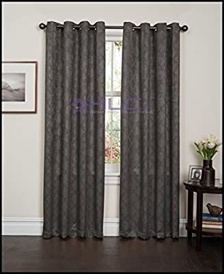 "HLC.ME Lattice Thermal Room Darkening Energy Efficient Blackout Curtains for Bedroom - Set of 2 - 63"", 84"", 96"" inch, 108"" inch Long"