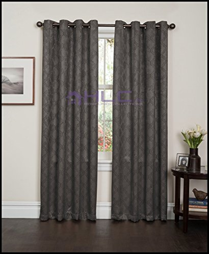 HLC.ME Redmont Lattice WideWidth Thermal Blackout Grommet Curtain Panel  84u0026quot; inch Long Grey