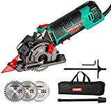 Mini Circular Saw, HYCHIKA Compact Circular Saw Tile Saw with 3 Saw Blades 4A Pure Copper Motor, 3-3/8