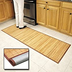 "Bamboo Floor Mat 24"" x 72"",Natural Bamboo,Light Wood"