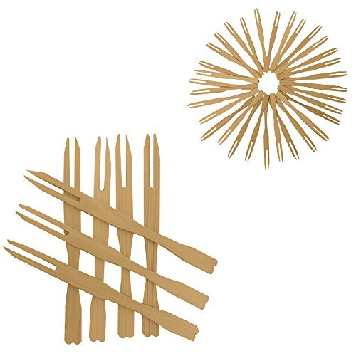 100 Mini Wooden Cocktail Fork Sticks, 3.5 Inch Bamboo Skewers.Splinter-Free Toothpicks.Includes 100 Bamboo Two Prong Sharp Fork Sticks. Perfect For Parties, Buffets, Food Tastings And Much More. by Premium Disposables